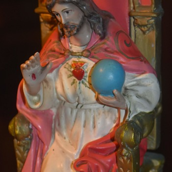 Filippino Heavily Polychromed Sacred Heart Jesus on a Throne - Folk Art