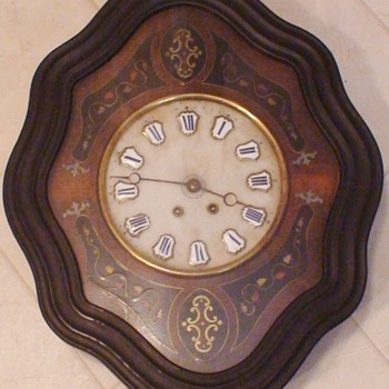 Antique French Oeil de Boeuf Ebonized Wall Clock - Clocks