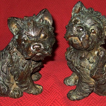 "Vintage Bronze West Highland ""Westie"" Terrier Puppy Sculptures - Animals"