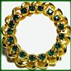 Unmarked Rhinestone Scalloped Brooch - Emerald colors