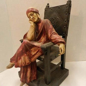 """LARGE ANTIQUE MEDIEVAL COUPLE SITTING IN METAL CHAIRS 13"""" - Figurines"""