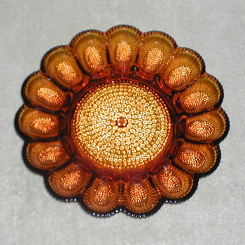 Indiana Glass Amber Egg Plate - Glassware