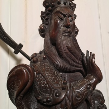 Antique chinese carved wood statue - Asian