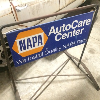 1972 Napa double sided sidewalk sign - Petroliana