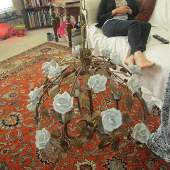 My ornate white rose chandelier  - Lamps