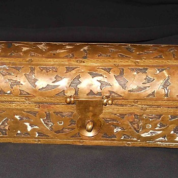 Vintage Vintage Old Brass Ornamental Design Small Wood Handmade Box - Furniture