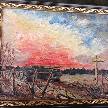 WW2 oil painting of a tank on its way to  Burlin by lieutenant ratko with letter.  - Military and Wartime