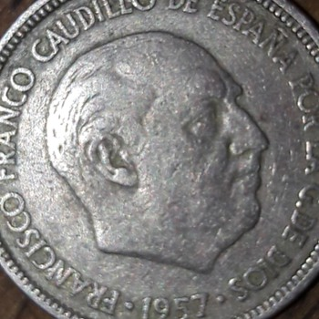 Maybe the rarest 1957 5 PTAS coin around - World Coins