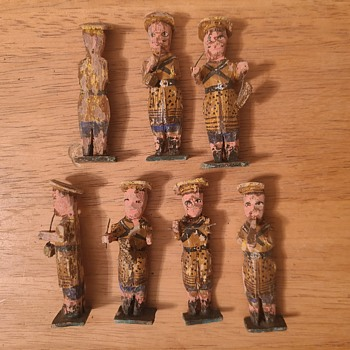 Antique Wood Carved Marching Band Musicians - Toys