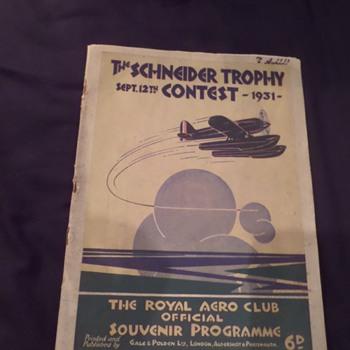 Art Deco. Original Schneider Trophy Contest programme. 1931