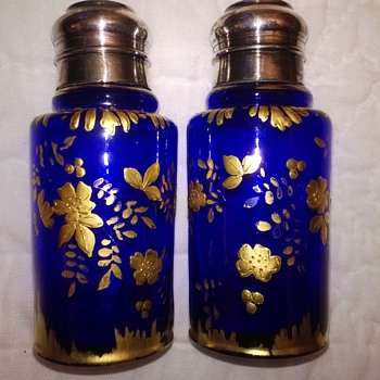 Unknown Deep Blue & Gold Shakers - Art Glass