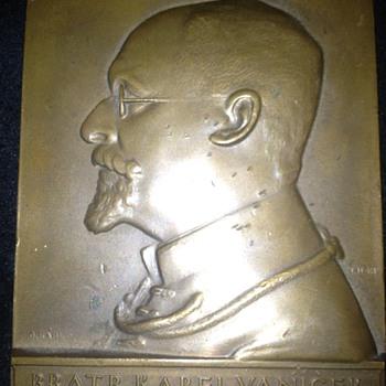 Czech (?) Bronze  Portrait Plaque.   Anyone read Czech?