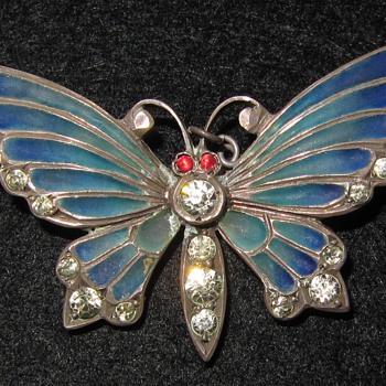 Meyle & Mayer silver plique-a-jour enamel butterfly brooch. - Fine Jewelry
