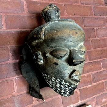 Antique wooden African Mbuya Cerimonial Mask - Folk Art