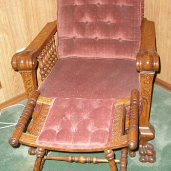 Oak Morris Chair and Foot Rest, Oak Fern Stand - Furniture