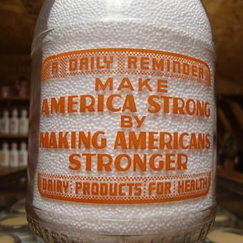 PATRIOTIC WWII WAR SLOGAN...MAKE AMERICA STRONG.......QUART ORANGE PYRO MILK BOTTLE - Bottles