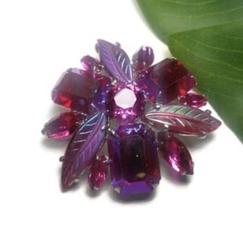 Sherman Fushcia Brooch with Swarovski Crystal rhinestones and Glass Leaves - Costume Jewelry