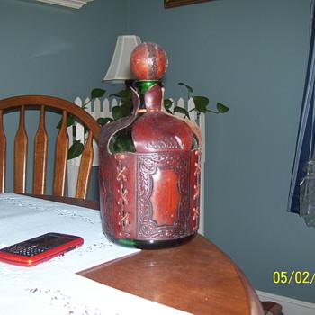 OLD WINE BOTTLE LEATHER WRAPPED - Bottles