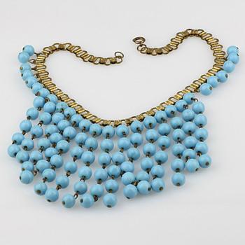 Blue glass statement necklace