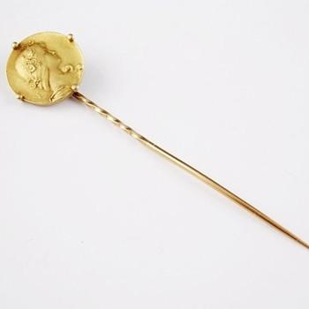 Art Nouveau gold stickpin -- Emile Vernier - Fine Jewelry