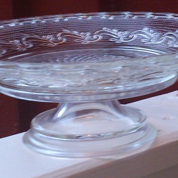 Pressed glass cake plate - Glassware