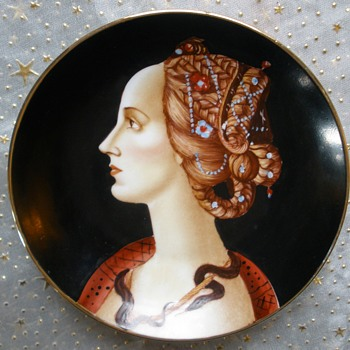 Simonetta Vespucci for H. Liebes & Co.  S.F. Merchant Hand Painted Plate RARE! - Fine Art