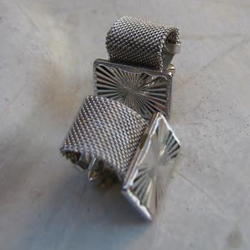 1970's flashy silver cufflinks - Accessories