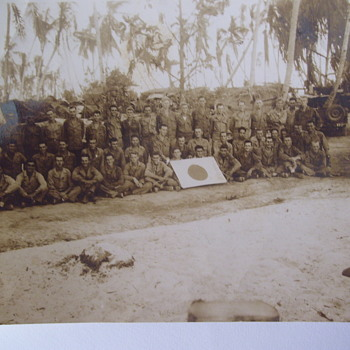 PHOTO FOUND IN ALBUM, WW11, PHILLIPPNES? OUR TROOPS WITH JAPANESE FLAG. - Photographs
