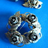 Vintage 1940's Rose screwback drop earrings and brooch