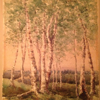 Wooded scene 19th century watercolor Signed HWS  - Fine Art
