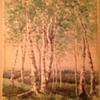 Wooded scene 19th century watercolor Signed HWS