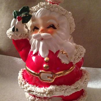 Vintage Napco Spaghetti Santa Figurine Japan pottery - Christmas