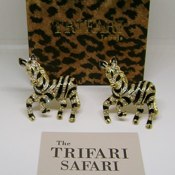 Trifari Safari Zebra Brooch Set - Costume Jewelry