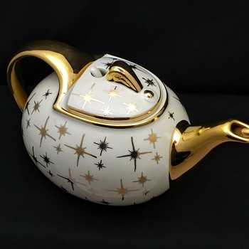 Vintage Hall China MCM Atomic Starburst Motif Teapot w/Hook Lid - China and Dinnerware