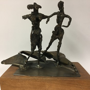 Abbott Pattison Man and Woman Bronze Sculpture on Wood Base - Fine Art