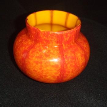 Czech orange spatter vase - Art Glass