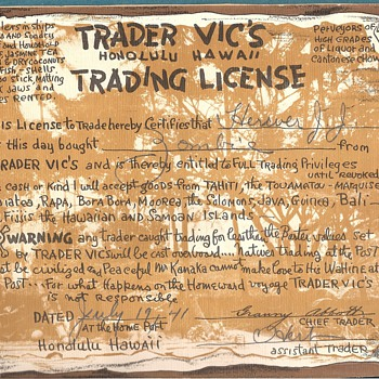Trader Vic's Honolulu, Hawaii - Military and Wartime