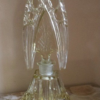 Large intaglio Czech perfume bottle - Art Glass