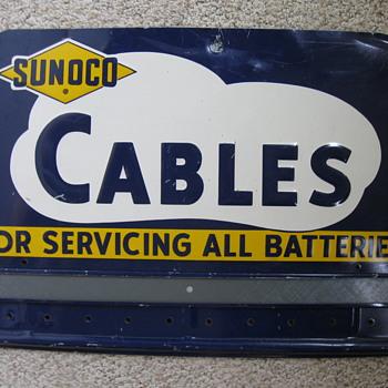 Sunoco Cables Battery Service Sign - Petroliana