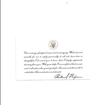 """RICHARD NIXON"" APPRECIATION CARD TO A CITIZEN - Paper"