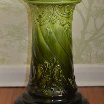 Antique green majolica jardiniere pedestal - Pottery