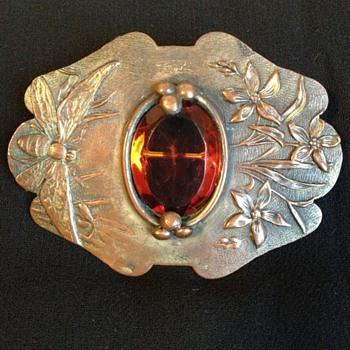 Art Nouveau Bee & Flower C-clasp Brooch