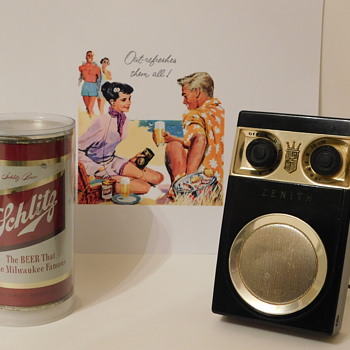 "1950s Zenith ""Owl Eyes"" Royal 500 Radio and Schlitz - Breweriana"