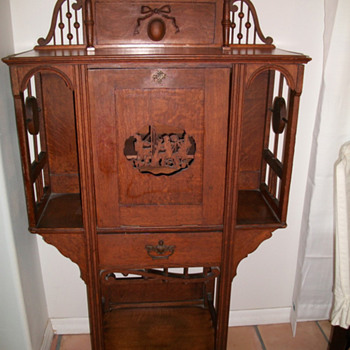 Early 1900s Stick and Ball Carved Oak Music Cabinet   - Furniture