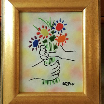 Bouquet Enamel on Copper 8x10 After Picasso, by Max Karp - Mid-Century Modern