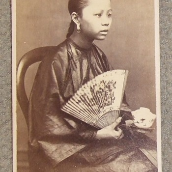 Young Chinese woman with fan and cup cdv - Photographs