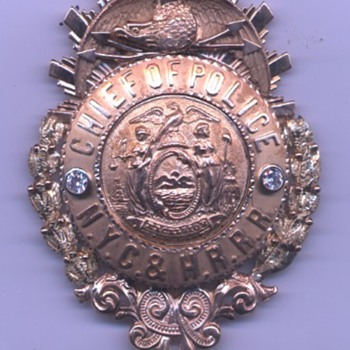 14K gold New York Central & Hudson River Railroad Chief of Police badge with diamonds - Railroadiana