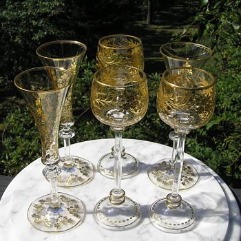 Antique Moser Etched and Gilt Glasses - Art Nouveau