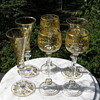 Antique Moser Etched and Gilt Glasses