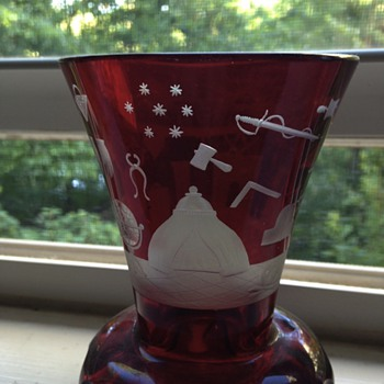 Freemason Firing glass - red etched glass - Glassware
